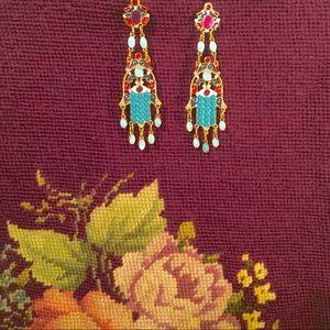 Jewelry - Boho Turquoise & Gold Enamel Chandelier Earrings